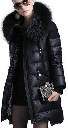 Fur Hooded Asymmetric-Hem Puffer Down Coat in Black Fur Fashion, Fall Fashion Trends, Winter Fashion, Fashion Black, Womens Fashion, Black Puffer Coat, Plus Size Winter, Plus Size Coats, Down Coat