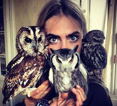 Mulberry chose Cara Delevingne to front its fall 2013 campaign, perhaps because she can stare blankly just like her owly co-stars. | Cara Delevingne Lands New Mulberry Campaign, Poses Gamely Alongside Stuffed Owls