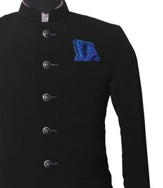 Buy Pocket Squares, Men's Tie, Men's Shirts, Nehru Jackets and many more at Chokore - Men's Ultimate Style Destination. Nehru Jackets, Chef Jackets, Pocket Square Styles, Pure Silk, Fashion Accessories, Style Inspiration, Pure Products, How To Wear, Blue