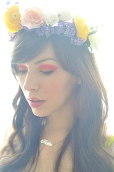 Flower crown and creative color. probably would never do this. but just so pretty had to repin it!
