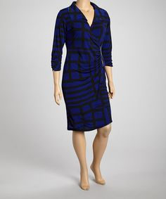 Look what I found on #zulily! Royal Blue Zipper Surplice Dress - Plus #zulilyfinds