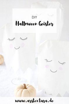 DIY Halloween Deko selber machen: Kleine Geister Lampen aus Papiertüten basteln. Die perfekte Dekoration für deine Halloween Party. Du kannst sie super schnell und einfach mit Kindern basteln. | ars textura - DIY-Blog #halloween #deko #herbst #basteln