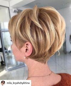 Short Hair Over 60, Short Thin Hair, Short Hair With Layers, Short Hair Cuts For Women, Short Stacked Hair, Bob Hairstyles For Fine Hair, Haircut For Thick Hair, Haircut And Color, Wedge Hairstyles