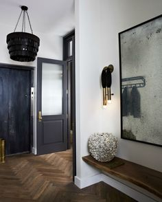 Touches of black, antique mirror, floors, black chandelier