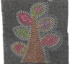 Design created by using light threads on dark background, gives subtle effect.   Kantha sampler - Google Search