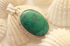 HUGE COPPER TURQUOISE FOR VALENTINE GIFT FOR HER 925 STERLING SILVER PENDANT 934 #925silverpalace #Pendant