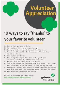 "10 ways to say ""thanks"" to a volunteer."