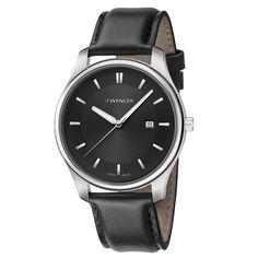 Wenger 01.1441.101 Men's City Classic Black Dial Black Leather Strap Watch