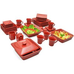 10 Strawberry Street Nova 45-Piece Square Dinnerware Set, Red- Loving all the extras but only 6 settings