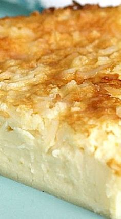 """Impossible Coconut Custard Pie - incredibly creamy, delicious, great texture, and not """"egg-y"""" (Southern dessert recipe) # coconut Desserts Impossible Coconut Custard Pie Coconut Desserts, Brownie Desserts, Oreo Dessert, Just Desserts, Pie Coconut, Coconut Pie Recipes, Custard Desserts, Egg Desserts, Party Desserts"""