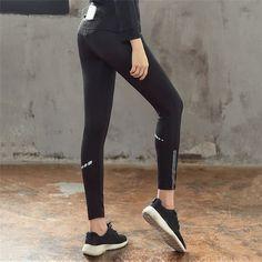 409de6316f 2017 Sexy Slim Black Sports Leggings Women Fitness Gym Trousers Yoga Pants  Leggins Running Tights Hips Push Up Sportswear