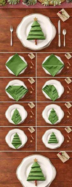 DIY Tischdeko Ideen zu Weihnachten, Servietten Origami Weihnachtsbaum, Falttechnik für Servietten NO SEW DISH TOWEL PILLOW DIY- Some dish towels are so pretty they should be pillows. Well, now they can be and no sewing involved! Origami Christmas Tree, Christmas Tree Napkins, Noel Christmas, Winter Christmas, Simple Christmas, Christmas 2019, Christmas Napkin Folding, Black Christmas, Christmas Kitchen