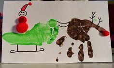 Santa Sleigh & Rudolph using Handprint & Footprint. Christmas Craft for Kids.