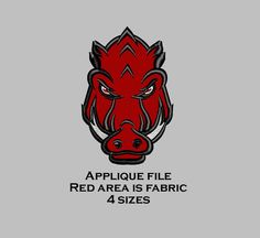 Welcome to 5 & Down Embroidery Designs  Razorback filled design; 4 sizes available instant download after purchase!  4 width 1.3 height 3.9 stitches 6,300