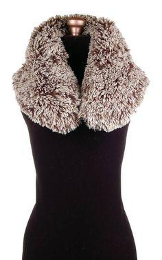 Collar in Silver Tipped Fox in Brown Faux Fur #pandemoniumhats #pandemoniummillinery #Seattle #WA  #handmade #madeinUSA #shopping #style #beauty #fashion #accessories #fashion #fauxfur #collar