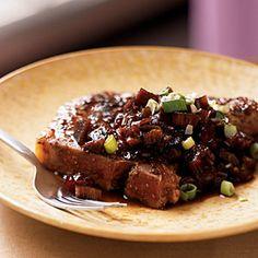 Rhubarb Recipes | Grilled Pork Chops with Rhubarb Chutney | CookingLight.com