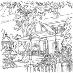 Johanna Basford's Secret Garden & Enchanted Forest -  Leaves House Colouring Pages, Coloring Pages For Kids, Printable Coloring Pages, Coloring Book Pages, Coloring Sheets, Colorful Drawings, Colorful Pictures, Steampunk City, Debbie Macomber