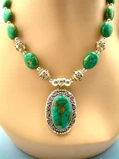 Balinese Turquoise & Sterling Silver Necklace, 18-1/4 Inches from auraeanaoriginals on Ruby Lane