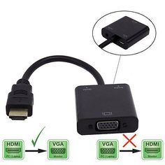 HDMI To VGA Cable Converter For PC Laptop Xbox PS3/4 HDTV  Supports Audio Black