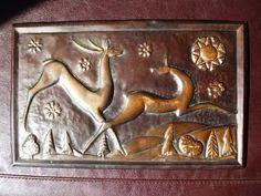 Vintage USSR Soviet Russia Latvia copper wall decor plaque deer 1971