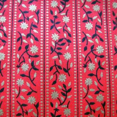 Vintage Cotton Fabric - Bright Red Fabric - Bands of Flowers in Metallic Gold and Black on Etsy, $12.00