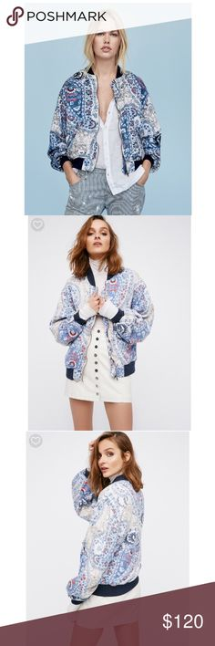 Free People Bomber Jacket Classic bomber silhouette featuring contrast patterns and designs. Front zip closure and hip pockets with snap closures. Silky quilted lining.  *100% Lyocell *Machine Wash Cold *Import  Measurements for size: Small *Bust: 44 = 111.76 *Length: 24.5 = 62.23 *Sleeve Length: 23.5 = 59.69 Free People Jackets & Coats