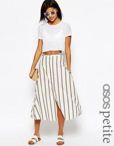 Image 1 ofASOS PETITE Stripe Button Through Midi Skirt