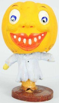 German Halloween Pumpkin Head Candy Container : Lot 1925