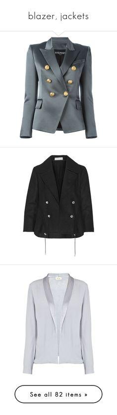 """blazer, jackets"" by bliznec ❤ liked on Polyvore featuring outerwear, jackets, blazers, grey, balmain, double breasted blazer, balmain jacket, blazer jacket, grey blazer and cropped jacket"