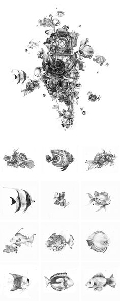 The Diver: Black and White pencil illustration. The fishes were drawn on…