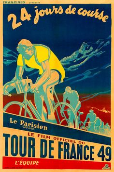 1949 Tour de France Poster 0131 6 sizes por BicyclePosters en Etsy