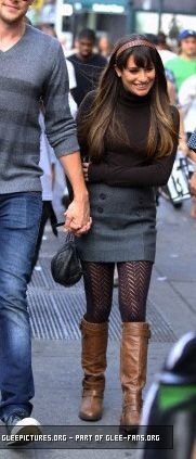 WornOnTV: Rachel's brown boots and grey button front skirt on Glee season 4 | Clothes and Wardrobe from TV