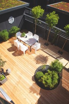 Patio - wood, see trees on fence line Small Outdoor Spaces, Outdoor Rooms, Outdoor Living, Outdoor Decor, Outdoor Plants, Outdoor Gardens, Small City Garden, Outside Living, Rooftop Garden
