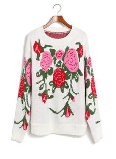 White Sweater - Vintage Flower Long Sleeve Pollover $42