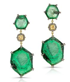 Emerald trapiche dangle earrings, trapiches are the rarest of emeralds and can cost over $100,000!