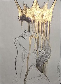 medium: black markers and gold acrylic paint Crown Painting, Crown Drawing, Art Sketches, Art Drawings, Crown Art, Arte Obscura, Arte Sketchbook, Pretty Art, Aesthetic Art