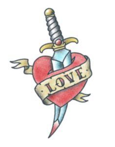 Love Heart with Dagger Temporary Tattoo  @ TattooedNow