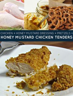 chicken + honey mustard dressing + pretzels = honey mustard chicken tenders. The kind of dinner so easy you don't really have to think about it. Get the recipe. |   Three-Ingredient Recipe