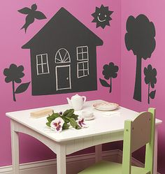 DIY vinyl wall decals with chalboard contact paper