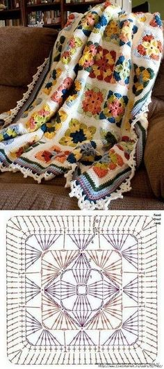 Best Free Granny Squares Crochet diagram Suggestions Get influenced with regard . Best Free Granny Squares Crochet diagram Suggestions Get influenced with regard to Granny Sq . Crochet Motifs, Crochet Quilt, Granny Square Crochet Pattern, Crochet Blocks, Crochet Pillow, Crochet Diagram, Crochet Squares, Crochet Granny, Crochet Yarn