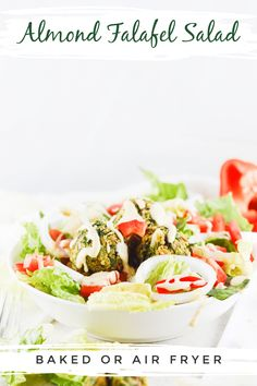 Lighten up your week with some baked almond crunch falafel bowls served with a super quick, easy and delicious two-second dressing. Instructions for prepping in advance so you can get the week off to a great start. Less than 30 minutes from start to finish this bowl is also vegan and vegetarian-friendly, made with simple ingredients, easily meal prepped ahead of time and a great nutritious meal to add to your weekly meal plan. Baked not fried. #veganbowl #falafelbowl #weeknightmeal Vegan Entree Recipes, Easy Salad Recipes, Salad Dressing Recipes, Whole Food Recipes, Dinner Recipes, Healthy Recipes, Falafel Salad, Clean Eating Desserts, Kitchen Recipes