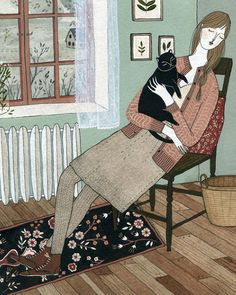 Illustration by Yelena Bryksenkova, Cat nap (detail), watercolor, gouache on paper.