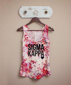 Sigma Kappa Pink & White Floral Tank  <3 thegreeksupply.com <3