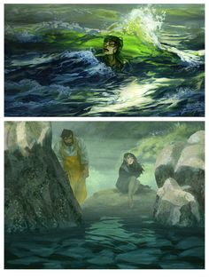 The story Toerning has painstakingly illustrated here, usually known as The Selkie or The Seal Wife, is one of my favourites. It's such a complex but enchanting story and selkies are such fascinating mythological creatures. Toerning has captured beautifully the sorrow and the ocean that permeate the story.