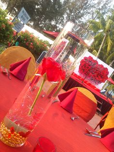 outdoor wedding reception  Theme : red and gold