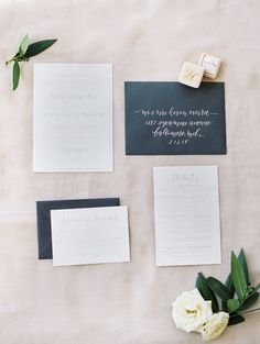 Chic black and white wedding invitation suite: http://www.stylemepretty.com/2017/03/10/blending-organic-and-elegant-in-the-most-beautiful-of-ways/ Photography: Krista A. Jones - http://kristaajones.com/