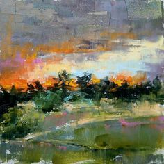 """""""Sunday evening"""" oil on panel 6 х 6 in 2018 year  60$  / AVAILABLE Impressionist Landscape, Abstract Landscape, Landscape Paintings, Watercolor Paintings, Abstract Art, Watercolors, Landscapes, Pictures For Sale, Oil Painting Pictures"""