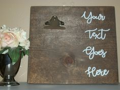 Custom wood photo display, Photo wood display, Wood photo display sign, Add your own text or quote, Photo Clip Frame, Wedding sign, Stained by SignReads on Etsy