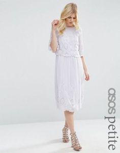 Платье миди с вышивкой ASOS PETITE PREMIUM