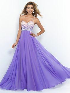 Purple A Line One Shoulder Sweetheart Beaded Sleeveless Floor Length Long Chiffon Prom Dress 2017